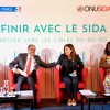 French AIDS ambassador Michèle Boccoz, executive director of UNAIDS Michel Sidibé,  mayor of Paris Anne Hidalgo and Christine Kafando, a community health worker from Burkina Faso, speak at a press conference on the new 90-90-90 UNAIDS report.