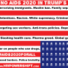 "A ""No AIDS 2020 in Trump's USA"" sticker design"