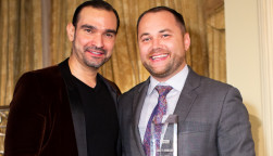Broadway star Javier Munoz and New York City Council Speaker Corey Johnson at GMHC's 2018 Gala
