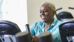 older woman on exercise bike