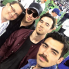(Left to right): Kevin Jonas Sr. with his sons Nick, Kevin and Joe.