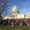 AIDSWatch participants rally outside the U.S. Capitol before lobbying members of Congress.
