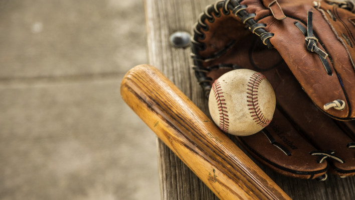 baseball bat glove and ball