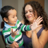 Gael, a boy with SCID-X1, and his mother Giannina Alva